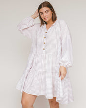 Load image into Gallery viewer, Linen cotton avalon Smock Dress // lilac purple gingham