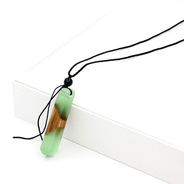 VONNOR Jewelry Vintage necklaces for men and women Black Rope Mixed Resin Wood Square Pendant Necklace Dropshipping