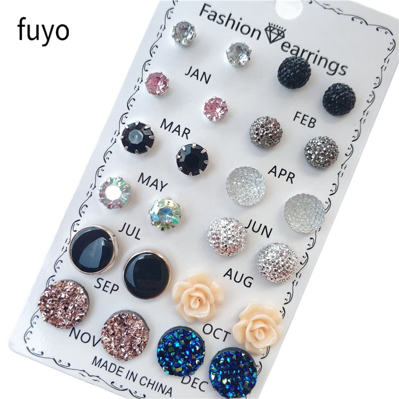 12 pairs/set Crystal Fashion Earrings Set Women Jewelry Accessories Piercing Ball Stud Earring kit Bijouteria brincos New 2019