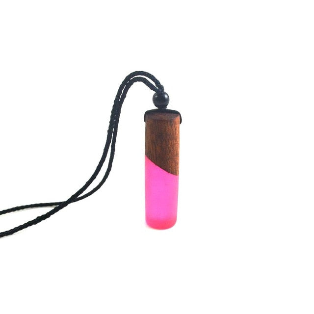 Leanzni New fashion hand wood resin necklace pendant, double color impact color design, men and women for jewelry, rope
