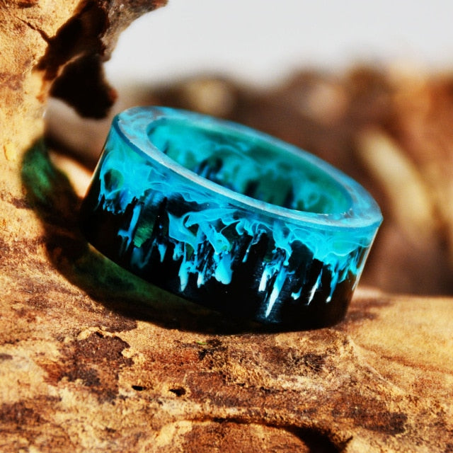 Blue Resin Ring Mountains Wooden Inside Magical World In A Tiny Landscape Ring for Women Men Jewelry Female Finger Punk Jewelry