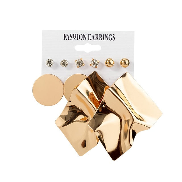 12 Pairs/Set Women's Earrings Set Stud Earrings For Women Bohemian Fashion Jewelry Vintage Geometric Crystal Pearl Earrings 2020