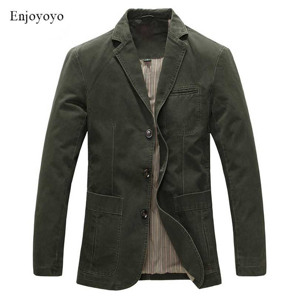 Spring Military Jacket Blazers Men 100% Cotton Casual Blazer Men's Suit Coat Male Blazer Masculino Jackets M-5XL