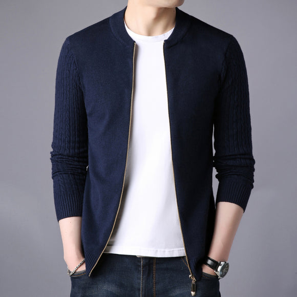 2020 Autumn Winter Men's Sweater Male Jacket Solid Color Sweaters Knitwear Warm Sweatercoat Cardigans Men Clothing