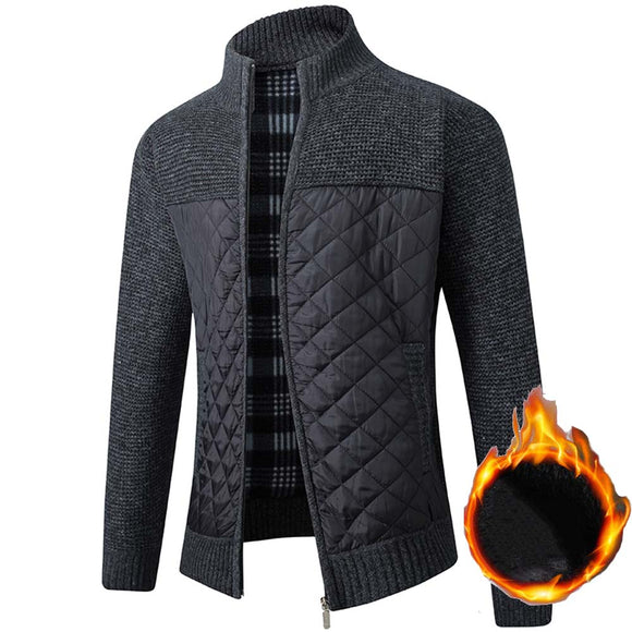 FALIZA Men's Fleece Sweater Coat Winter Thick Patchwork Wool Cardigan Warm Knitted Sweater Jackets Casual Male Clothing XY108