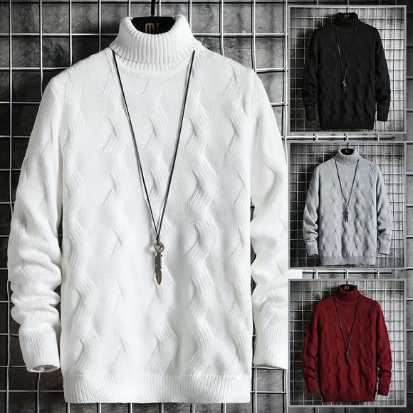 Autumn Winter Fashion Men's Sweaters Japan Streetwear Turtleneck Sweaters Men Casual Mens Clothing Striped Pullovers Sweater Men