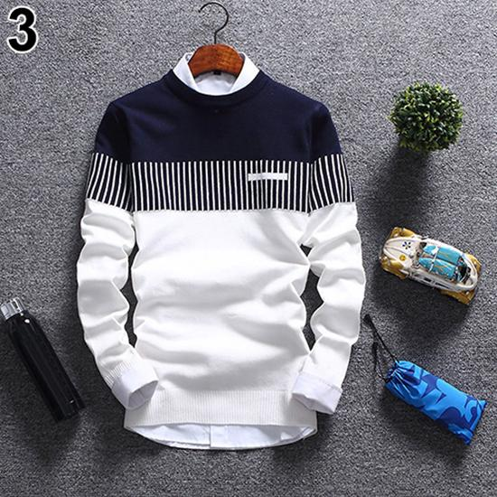 Sweater Men Casual V-Neck Pullover Men's Autumn Fashion Casual Strip Color Block Knitwear Pullover Sweater Mens Sweaters Top