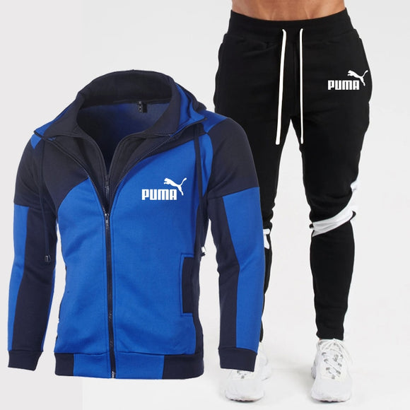 Autumn and Winter men's hooded Sweater suit PUMA Track Suit Sweatshirt Wool Hoodie + Sweatpants Jogging Ladies Pullover 3XL