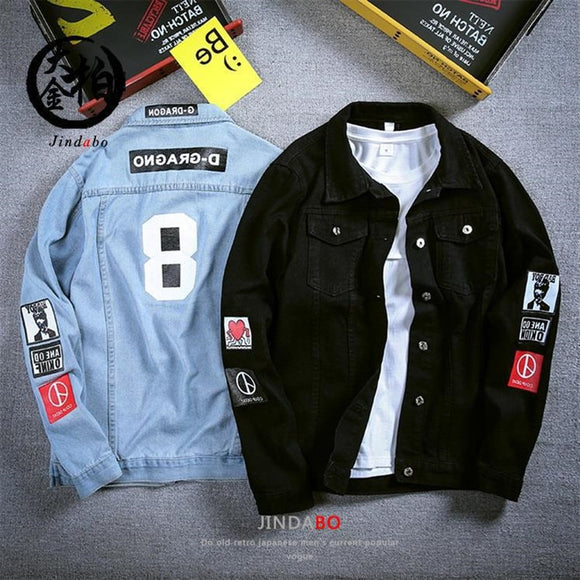 Slim Men's Blue Denim Jacket Long-sleeved Letter Print Coat 2021 Spring Casual Men's Streetwear Denim Button Retro Jacket