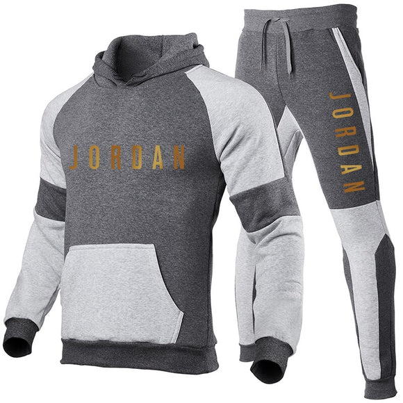 2021 Men's Trend Splicing Fashion Hoodie + Pants Suit Sportswear Men's Fashion Sportswear Sweater Jogging Sportswear Hoodie Set
