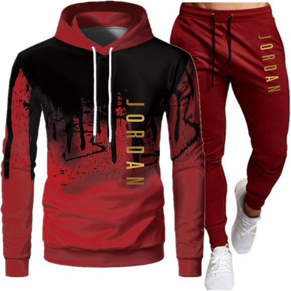 Spring and Autumn Men's Hooded Sweater Set JORDAN 23 Tracksuit Sweatshirt Wool Hoodie + Sweatpants Jogging Ladies Pullover 3XL