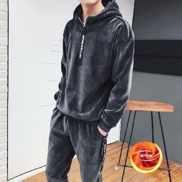 New men clothing autumn and winter 2020 Korean fashion double-sided fleece hooded men's sweater thickened sports two-piece suit