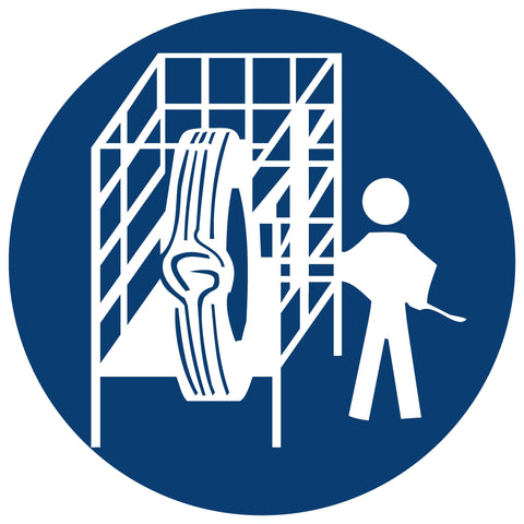 Safety Cage Shall Be Used safety sign (MV 16)