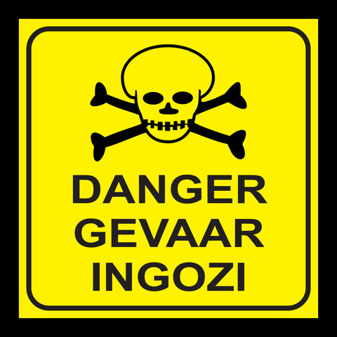 Danger Skull - 3 Languages safety sign (MV 43)