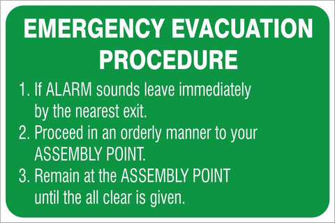 Emergency Evacuation procedure safety sign (IN42)