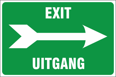Exit right - 2 Languages safety sign  (IN24)