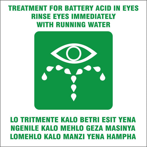 Treatment for battery acid in eyes - 2 languages safety sign (IN8)