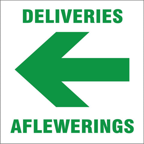 Deliveries with arrow left safety sign (IN18)