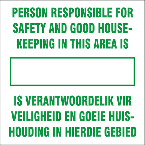 Person responsible for safety and good house keeping safety sign (IN7)