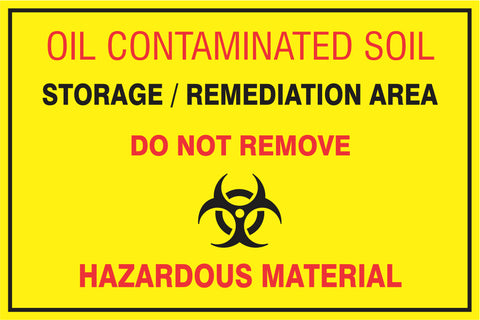 Oil Contaminated soil safety sign (HW74)