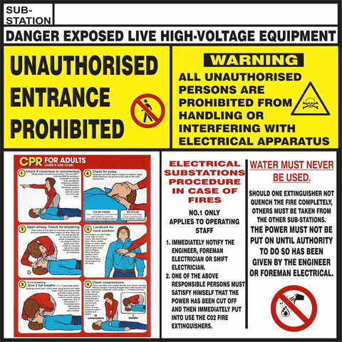 Sub-Station CPR Procedure Safety Sign (CPR01)