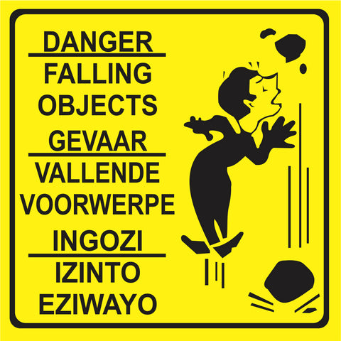 Danger - Falling Objects - 3 Languages safety sign (M090)