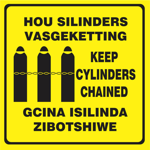 Keep Cylinders Chained - 3 Languages safety sign (M095)