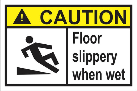 Caution : Floor slippery when wet safety sign (HW7.1)