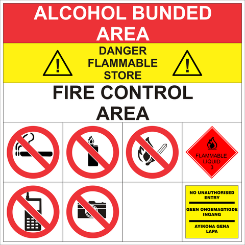 Alcohol Bunded Area safety sign (ABA001)