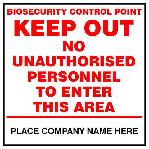 Biosecurity Control Point safety sign (BCP01)