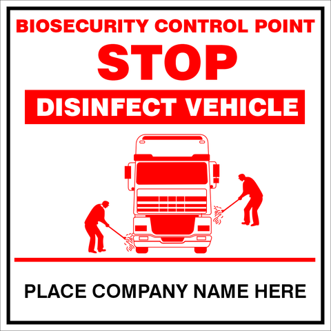 Biosecurity disinfect Vehicle safety sign (BCP02)