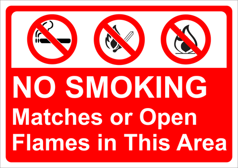 No Smoking, Matches or open flames in this area safety sign (NSM001)