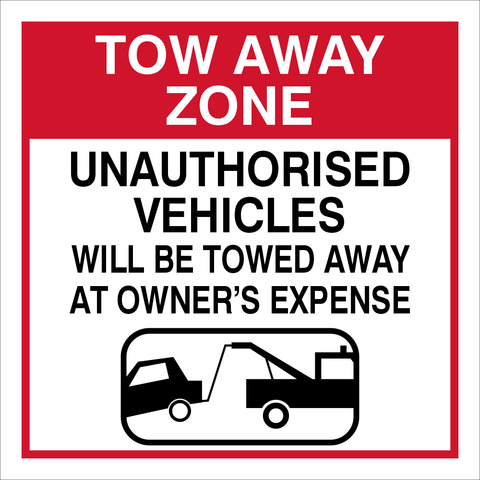 Tow away zone safety sign (TAZ01)