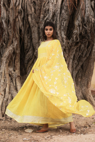 Yellow Hand Gota Work Gown With Dupatta Set of 2 by Chokhi Bandhani now available at Trendroots