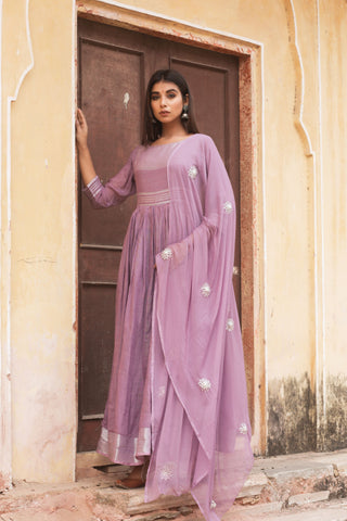 Purple Hand Gota Work Gown with Dupatta Set of 2 by Chokhi Bandhani now available at Trendroots