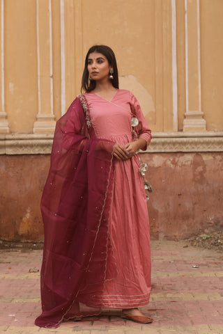Mauve Jam Silk Gown With Dupatta Set of 2 by Chokhi Bandhani now available at Trendroots