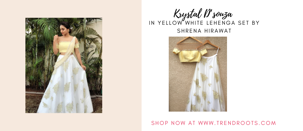 Krystal D'souza  in Yellow white lehenga by Shrena Hirawat now available at Trendroots