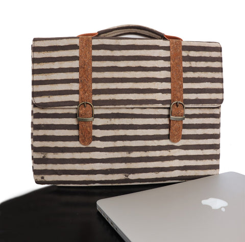 Big Brown Stripes Vegan Leather and Dabu Print Canvas Laptop Sleeve by Kirgiti Designs now available at Trendroots