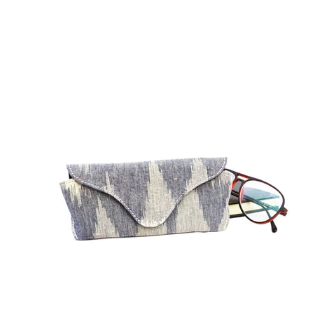 Multi Grey Vegan Leather and Ikat Weave Specs Cover by Kirgiti Designs now available at Trendroots