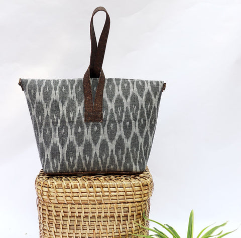 Multi Grey Vegan Leather and Ikat Weave Convertible Sling Bag by Kirgiti Designs now available at Trendroots