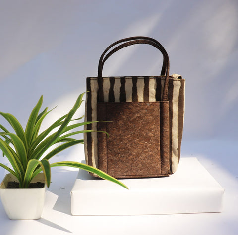 Big Brown Stripes Vegan Leather and Canvas Hand Bag cum Sling by Kirgiti Designs now available at Trendroots