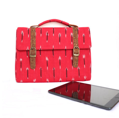 Red Vegan Leather and Ikat Weave I-Pad Sleeve by Kirgiti Designs now available at Trendroots