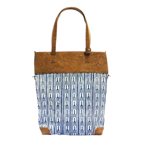 Indigo Fork Vegan Leather and Dabu Print Canvas Tote Bag cum Sling by Kirgiti Designs now available at Trendroots