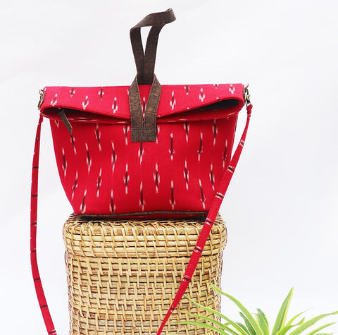 Red Vegan Leather and Ikat Weave Convertible Sling Bag by Kirgiti Designs now available at Trendroots