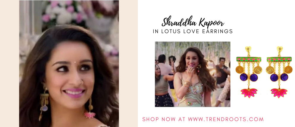 Shraddha Kapoor wearing Aditi bhat Lotus earrings now available at Trendroots