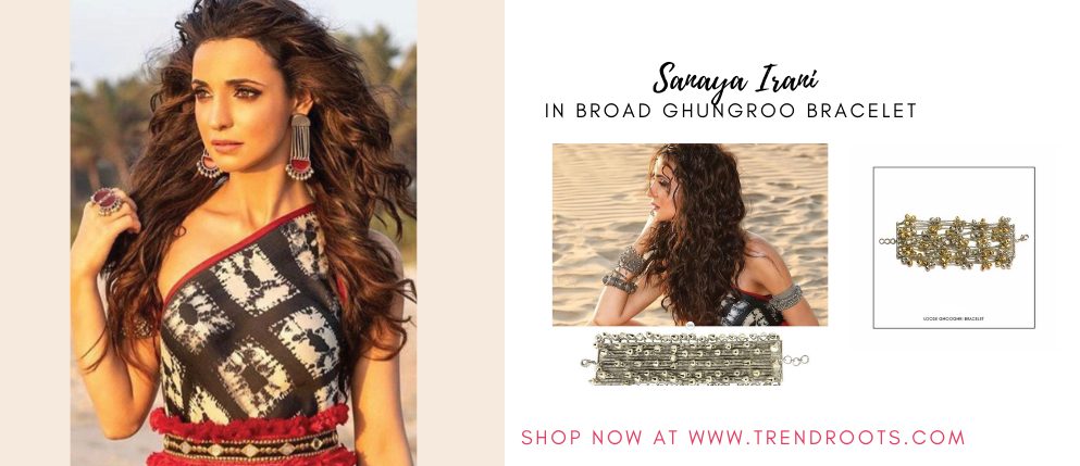 Sanaya Irani in gungroo bracelet by Aaree Accessories now available at Trendroots