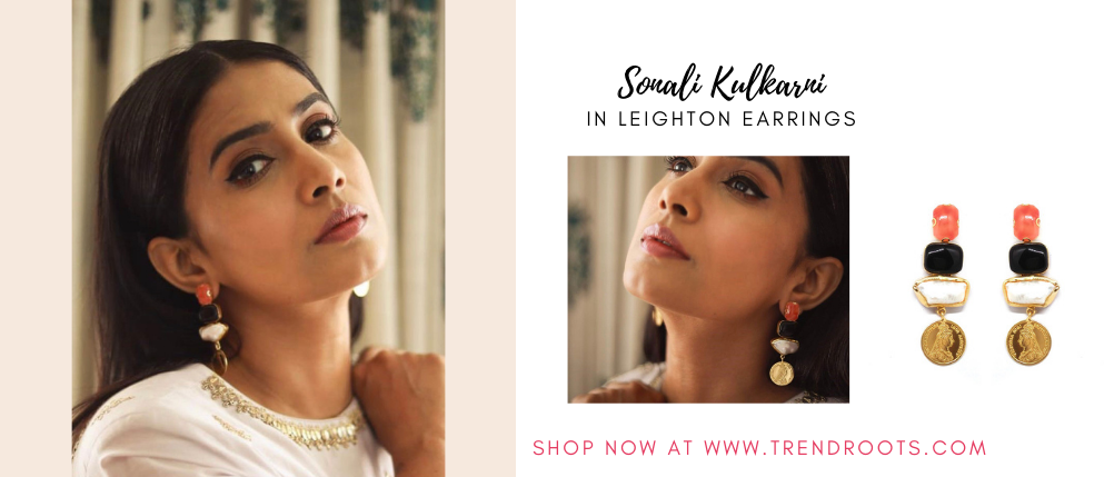 Sonali Kulkarni in Bay Leaf Accessories now available at Trendroots
