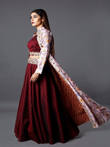 MARSALA RED GOTA EMBROIDERED CROP TOP AND SKIRT WITH OFF WHITE PRINTED JACKET by Ruchira Nangalia now available at Trendroots