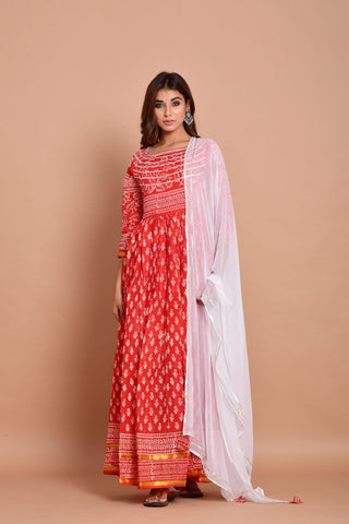 Red Anarkali Dress With Dupatta Set of 2 by Chokhi Bandhani now available at Trendroots
