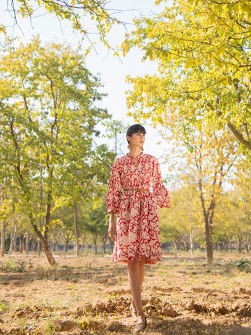 Red Rose Tunic Dress from Maison Shefali now available at Trendroots